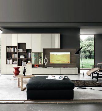 Decoracion salon blanco y madera